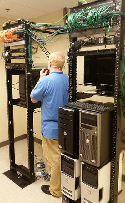 Technician working on a network