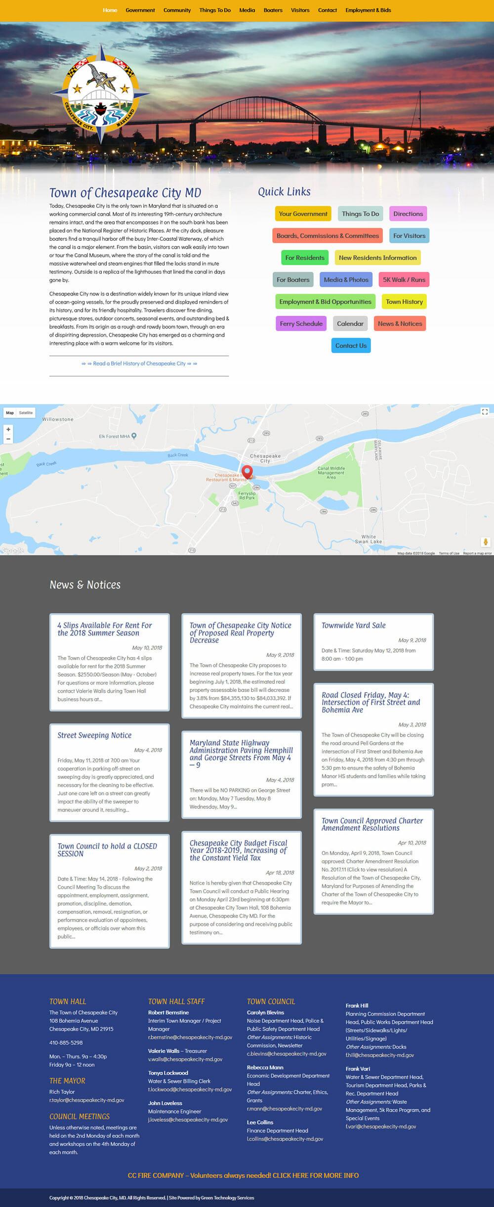 Screenshot of Chesapeake City website