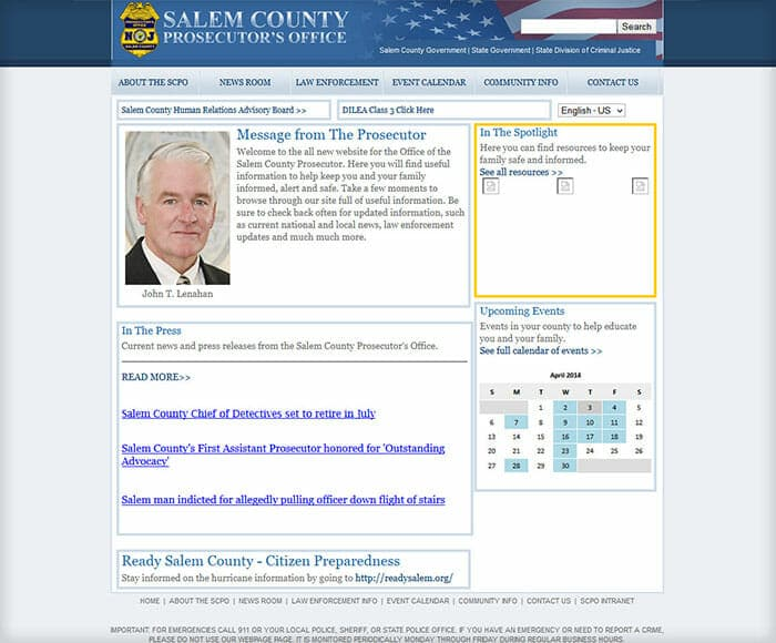 Screenshot of website before redesign