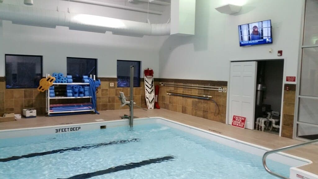TV installed in the swimming pool room