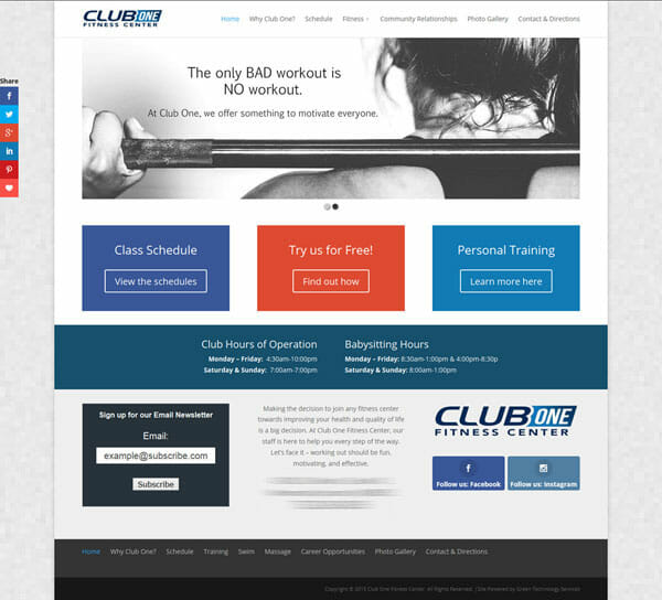 Screenshot of Club One website