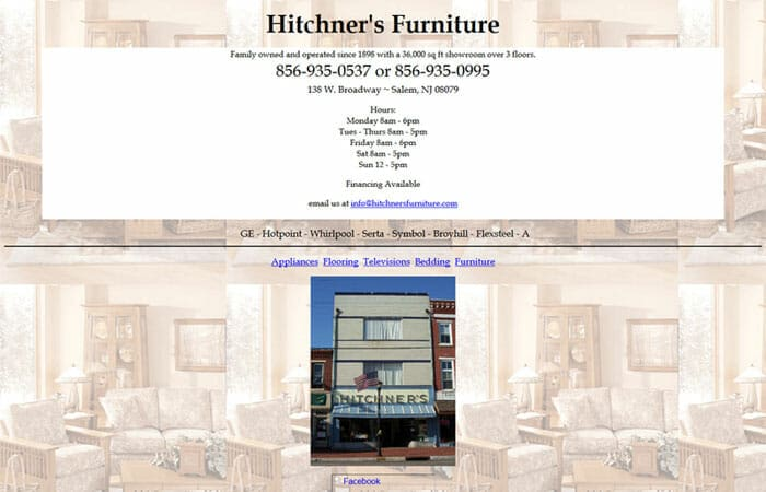 Hitchner website screenshot before view