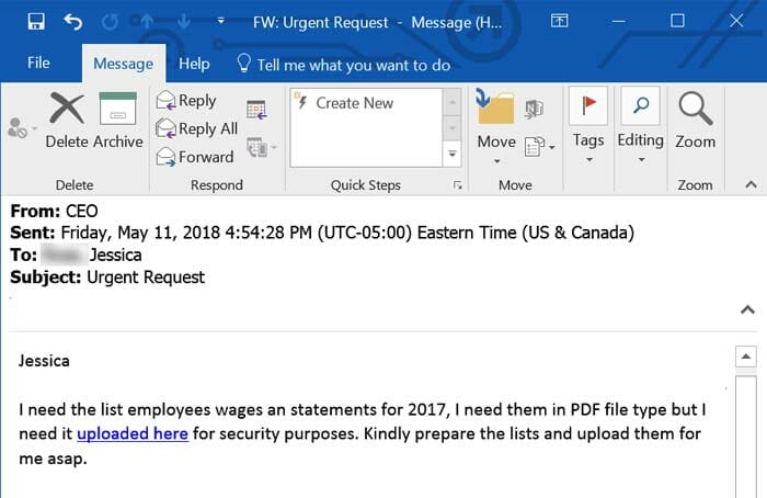 """email scam1 - New Deceptive Strains Of Payroll Phishing: """"Because that's where the money is..."""""""