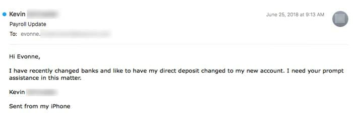 """email scam2 - New Deceptive Strains Of Payroll Phishing: """"Because that's where the money is..."""""""