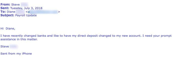"""email scam3 - New Deceptive Strains Of Payroll Phishing: """"Because that's where the money is..."""""""