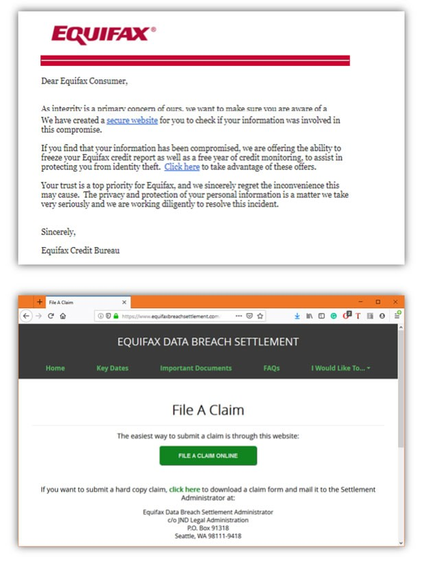 equifax scam samples - Equifax Settlement Phishing Scam