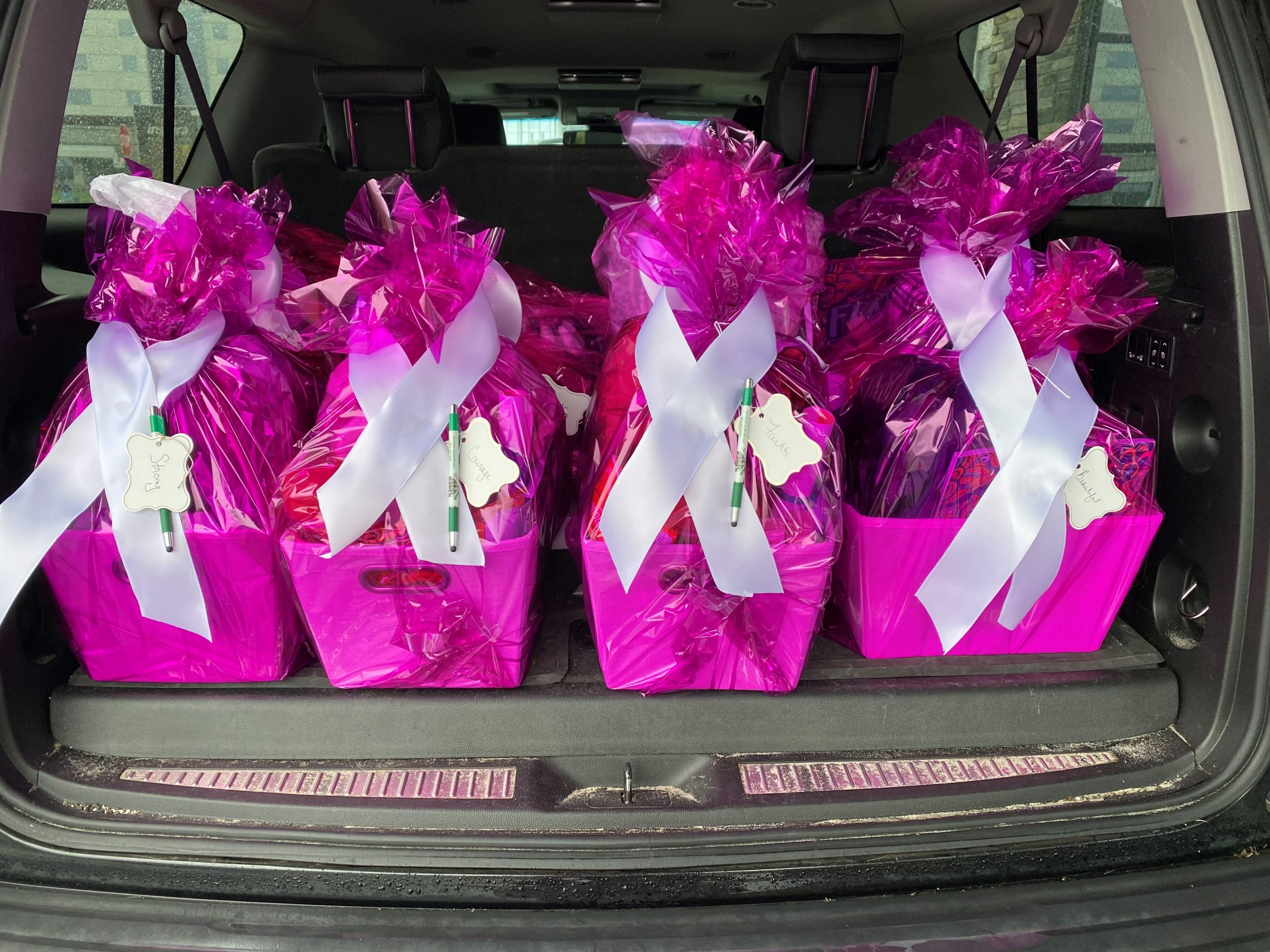 All the wrapped packages in back of car ready to be delivered