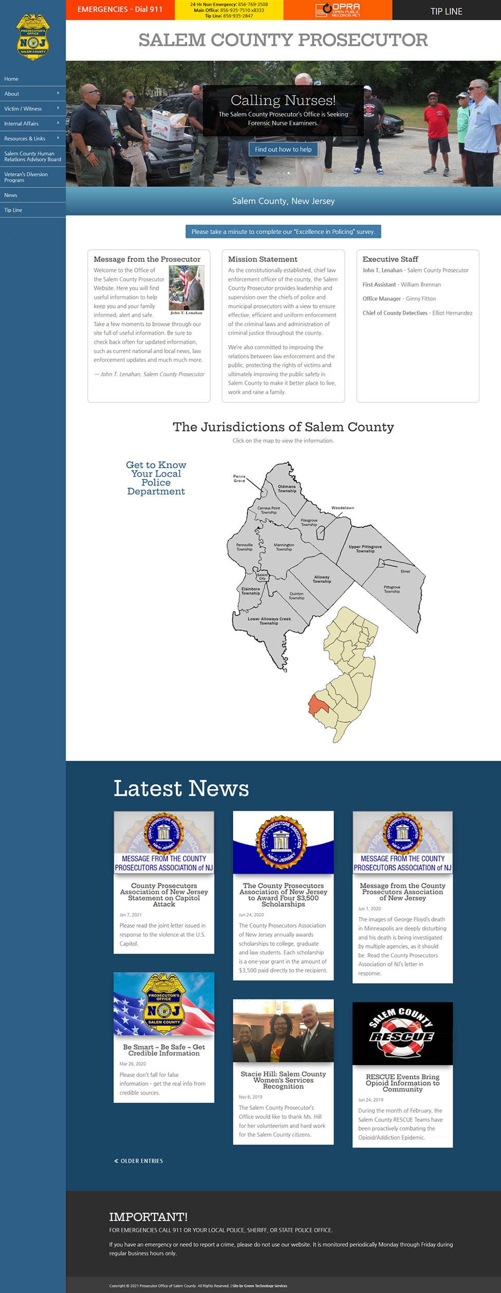 Screenshot of the Prosecutor's website